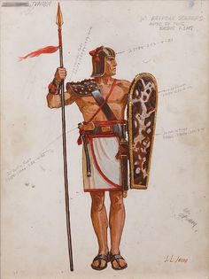 JOHN JENSEN COSTUME SKETCH FOR EGYPTIAN SOLDIER FROM THE TEN COMMANDMENTS