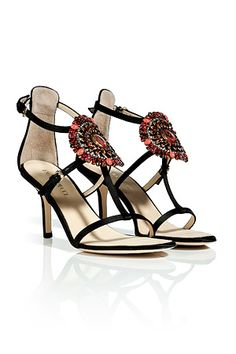 @stylebop #Emilio #Pucci  #Black #suede #sandals #with #Brooch like wearing #jewels on #your #feet