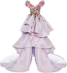 Marchesa Floral Embroidered Tiered Ball Gown