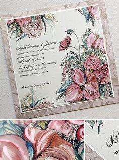 Peach amaryllis, garden rose and ranunculus #weddinginvitations