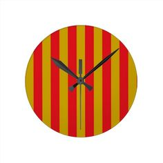 Red and Gold Stripes Clock
