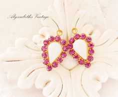 White Opal & Rose Pink Teardrop Rhinestone Charms Drops Swarovski Stones - 2 by alyssabethsvintage on Etsy