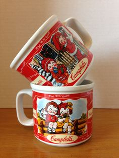 Gift Basket Collectible, Cambells Soup, vintage Decor, red and white kitchen decor, kids mugs, gift idea,