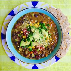 Loaded Vegan Chipotle Lentil and Black Bean Soup by MyMommaToldMe.com