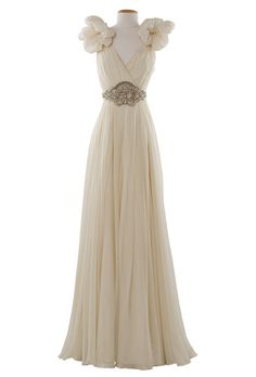 Brides: Jenny Packham. Famed artist Alphonse Mucha could have dressed one of his ethereal muses in this romantic wedding gown.