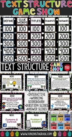 Nonfiction Text Structure Game Show Reading Lessons, Reading Skills, Teaching Reading, Reading Strategies, Teaching Ideas, Library Skills, Teaching Spanish, Math Lessons, Reading Comprehension