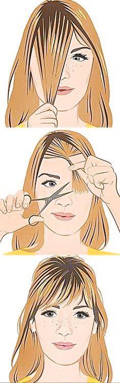 Franja desfiada - cortando em casa #franjinha #cabelo #corte #cabeloruivo