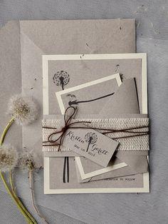 Custom listing 100 Dandelion Invitation Rustic by forlovepolkadots