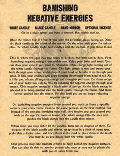Banishing Negative Energies, Book of Shadows Page, BOS Pages, Witchcraft, Wicca in Collectibles   eBay