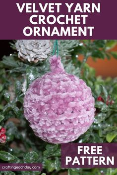 Use this free crochet pattern to whip up some Christmas baubles. This quick and easy pattern is perfect for leftover partial skeins of Bernat velvet yarns. Get ready for Christmas with this… More Crochet Christmas Decorations, Crochet Christmas Trees, Christmas Baubles, Christmas Holidays, Christmas Crafts, Christmas Decorations For The Home, Crochet Ornament Patterns, Holiday Crochet Patterns, Crochet Ornaments