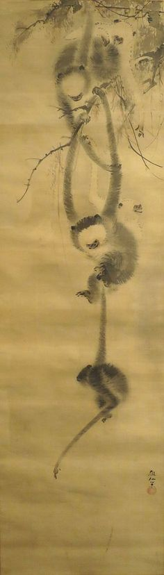 'Five Monkeys', attributed to Mori Sosen, early century, Honolulu Museum of Art, Japanese Painting, Chinese Painting, Asian Monkey, Awsome Pictures, Japanese Dragon, Dragon Art, Japan Art, Vintage Art, Art Museum
