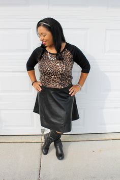 easy leather skirt outfit, modest outfit idea with leoaprd and leather
