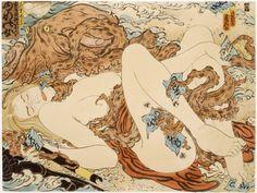 Masami Teraoka And His Controversial Tentacle Erotica Japanese Prints, Japanese Art, Le Kraken, Octopus Illustration, Octopus Sketch, Ero Guro, Samurai, Motif Art Deco, Goddesses