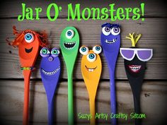Create a cute Jar O' Monsters for Halloween!  Easy painting tutorial inspired by Monsters University! #MonstersU #Halloween