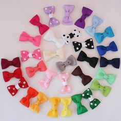 Hair bows for girls - 10 small - infant bow clip - Baby accessory - newborn girl gift - toddler bow. Choose colors