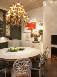 Handpainted lampshades on chandelier