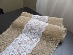 Lace & Burlap Table Runner  Wedding / by SilverStarfishDesign, $9.00