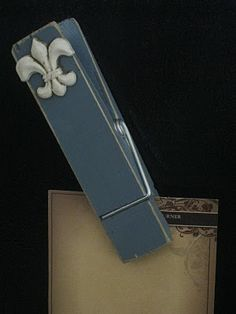 Clips DIY by SHANTY2CHIC  -- I am making these for my guest bedroom, love the fleur de lis