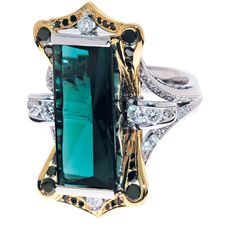 Green Tourmaline with Black and White Diamonds | Stephen Dibb Jewellery