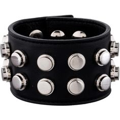 Saint Laurent Studded Leather Cuff ($345) ❤ liked on Polyvore featuring jewelry, bracelets, brown, bangle cuff bracelet, brown jewelry, leather jewelry, studded jewelry and cuff bracelet
