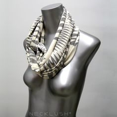 CIJ ChristmasInJuly White Scarf Wrap - Circle Loop Scarves by Necklush -  Natural Cream - Handmade Infinity Scarf Necklace Summer Winter. $29.00, via Etsy.