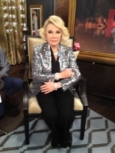 What Joan Rivers wore on February 13. BLAZER: Joan Rivers Classics Collection  SHIRT & TROUSERS: Theory  SHOES: CHANEL  JEWELRY: Katerina Maxine, MCL, and BACCARAT
