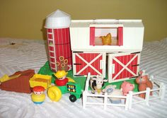 Complete Playset - 1990 Vintage Fisher Price Chunky Little People Farm. The Chunky Little People Farm is unmistakable....it is the only Little