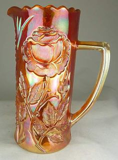 Pitcher in marigold - thistlewoods.net Carnival Glass - Rose Garden