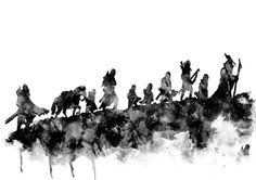 The Fellowship of the ring Lord of the rings por RosalisArt en Etsy - Geschichte Gandalf Tattoo, Hobbit Tattoo, Tolkien Tattoo, Tattoo Guerreiro, Watercolor Print, Watercolor Paintings, Lord Of The Rings Tattoo, Chicano, Nerd Art