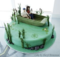 fisherman boat cake   fishing cake groom s cake with gumpaste figures this was my first time ...