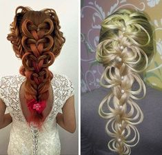 13 Epic Wedding Hair Fails ~~ Read now so you avoid these mistakes ~~ too loopy hart  braid with pink hairbow