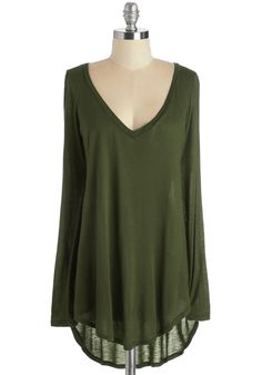 Casual You Need Top in Forest. Complete your cool and comfortable look with this long-sleeved green top! #green #modcloth