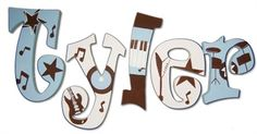 """TIMOTHY - musical letters for his room. """"Tyler Rocker Hand Painted Wall Letters"""""""