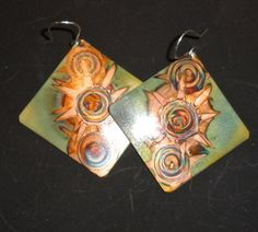 Big, square copper earrings, green, oxidized jewelry. $26.00, via Etsy.