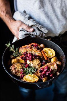 Skillet Cranberry Roasted Chicken and Potatoes | http://halfbakedharvest.com /hbharvest/