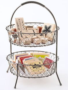 Small wire baskets are great storage for craft products.