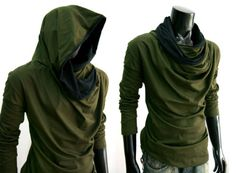 New-Men-longsleeve-GREEN-Tunnel-COWL-NECK-Hoodie-Cloak-shirt-top-sz-S-M-L-XL-XXL