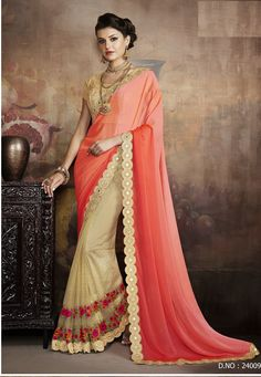 Buy Party-wear-Chikoo-Orange-color-saree from kollybollyethnics in USA UK and canada