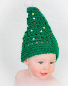Crocheted Baby Christmas Tree Hat. So festive!