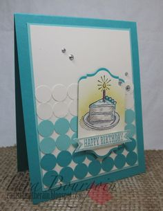 """Can't Stamp the Rain: Match-y, Match-y!  Sketched Birthday stamp set and 1/2"""" circle punch + Chalk Talk and Bitty Banner Framelits."""