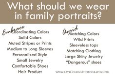 What to wear for your family photos.  @KayeCollinsPhotography