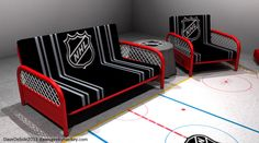 an addition to the hockey room Hockey Man Cave, Hockey Mom, Ice Hockey, Hockey Stuff, Hockey Girlfriend, Hockey Girls, Hockey Decor, Hockey Crafts, Futon Sets
