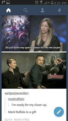 I love Mark ruffalo. I realize too he's like an actual amazing actor and may not want to be the hulk forever. We might lose him guys. None of us think he's up for grabs but I mean cmon. He's never ever wanted a spin off film <<But he needs to stay! Avengers Humor, Loki Meme, Marvel Avengers, Marvel Jokes, Marvel Actors, Marvel Funny, Marvel Dc Comics, Marvel Heroes, Avengers Quotes
