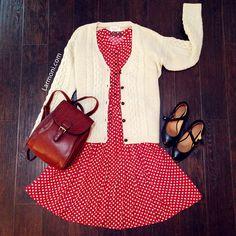 Polka Dots Retro Shirt Dress : The Art of Vintage-inspired & Cute Women's Clothing   Larmoni