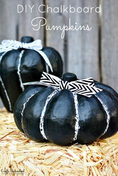 Pumpkin Decorations For Fall With a Fun Chalkboard Finish