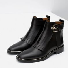 Image 3 of LEATHER ANKLE BOOT WITH FRINGES from Zara