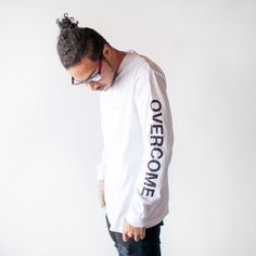 'Overcome' long sleeve tee based on the song of the same title from the Elevation Worship. Please allow business days for processing and handling. Christian Clothing, Christian Apparel, Winter Chic, Shirt Style, Long Sleeve Tees, Street Wear, Tee Shirt Designs, Apparel Design, Sweatshirts