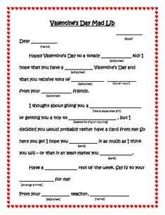 Valentine's Day Mad Libs For Students - Parts of Speech Valentines Games, Valentines Day Messages, Valentines Day Activities, Valentines Gifts For Boyfriend, Valentines Day Party, Valentines For Kids, Valentine Nails, Valentine Ideas, Middle School Activities