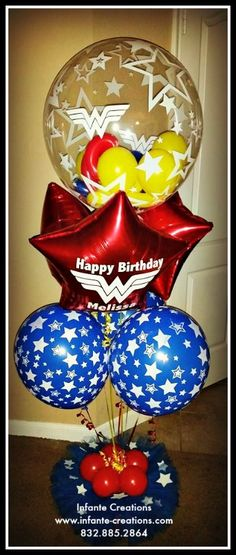 Custom Personalized Wonder Woman Birthday Balloon Bouquet Balloons Qualatex Bubble Wonderwoman
