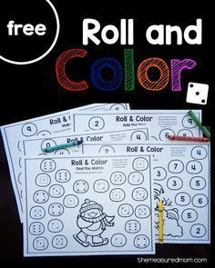 five free winter roll and color games for preschool and kindergarten!Get five free winter roll and color games for preschool and kindergarten! Kindergarten Centers, Preschool Math, Fun Math, Math Centers, Preschool Winter, Math Stations, Winter Activities, Preschool Activities, Winter Thema